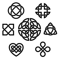 Traditional celtic infinity knot vector elements set