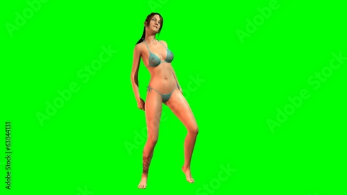 Hot Girl in sexy Bikini dances  -  green screen