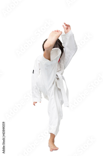 Little tae kwon do boy martial art kick