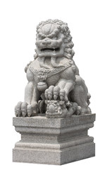Stone lion sculpture Chinese style on white background isolate