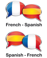 French - Spanish translator clouds