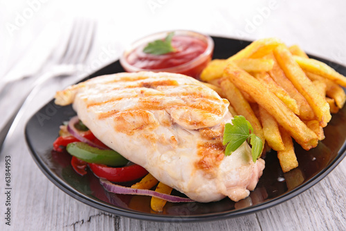 chicken fillet and fries