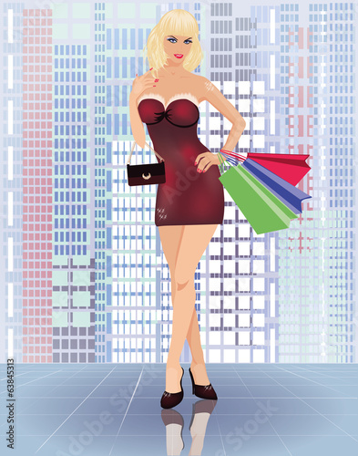 Shopping in city, young woman with handbags, vector
