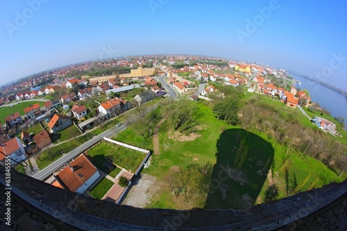 Panorama of city Vukovar. View from water tower.
