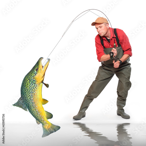 The fisherman with Brown Trout.