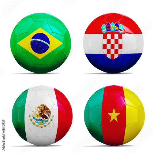 Soccer balls with group A teams flags, Football Brazil 2014.