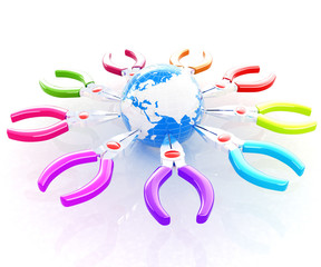 Colorful pliers to work and earth. Global tools concept