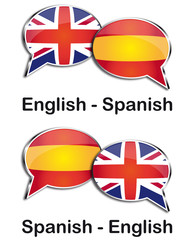 English - Spanish translator clouds