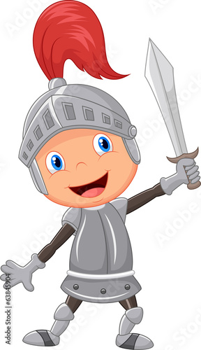Cartoon knight boy