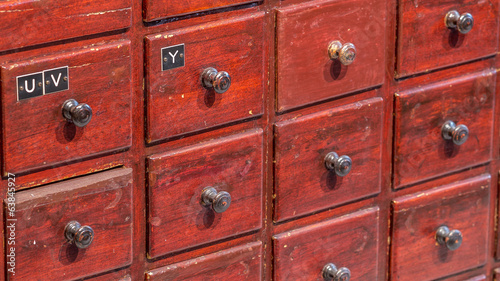 Old pharmacy drawers