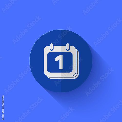 Vector modern flat blue circle icon.