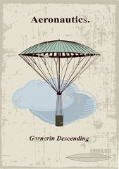 Retro card, Garnerin Descending in the clouds
