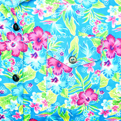 Background of left pocket on blue shirt flower pattern