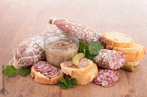 bread,salami and pate