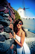Young woman on Santorini, photo in vintage style
