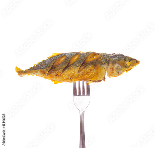 Fried Short Mackerel and Fork