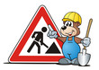 canvas print picture - Bear Construction Sign