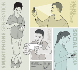 Vector file of people using smart phone.