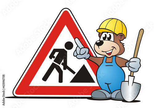 canvas print picture Bear Construction Sign