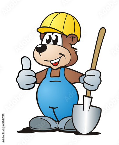 Bear with Helmet and Shovel