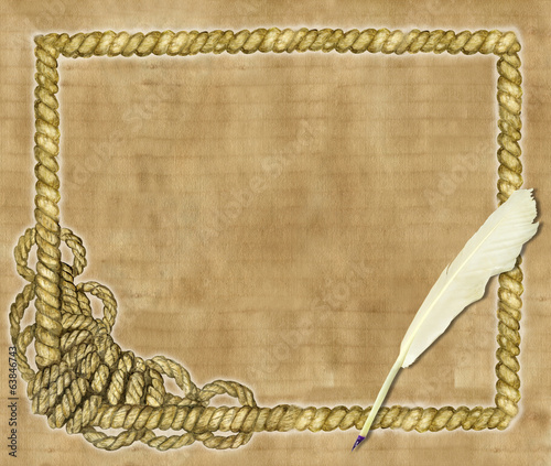 Background with sea rope and quill