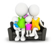 3d white people family sitting on sofa