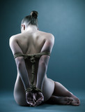Nude woman with shibari in studio