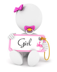 3d white people baby girl holding an name tag