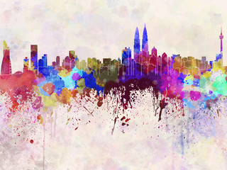 Kuala Lumpur skyline in watercolor background