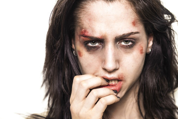 Beaten up girl with deep look