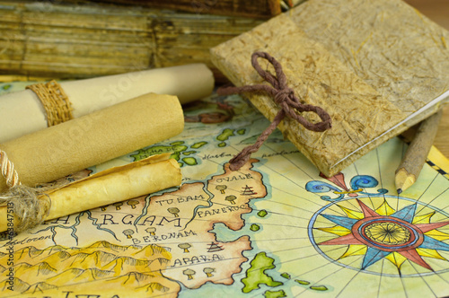 Diary with pirate map and scrolls