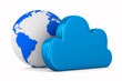 Cloud and globe on white background. Isolated 3D image