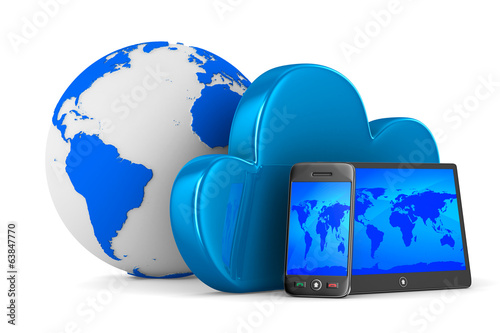 Cloud technology on white background. Isolated 3D image