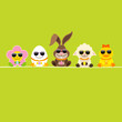 Easter Rabbit  & Friends Sunglasses Green