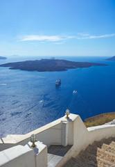 View of the volcano in the Aegean Sea near the island of Santori