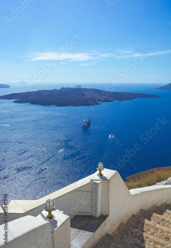 View of the volcano in the Aegean Sea near the island of Santori