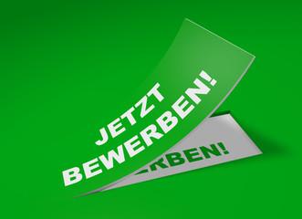 3D Etikett Grün - Jetzt bewerben!