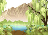 Idyllic landscape with willow and mountain