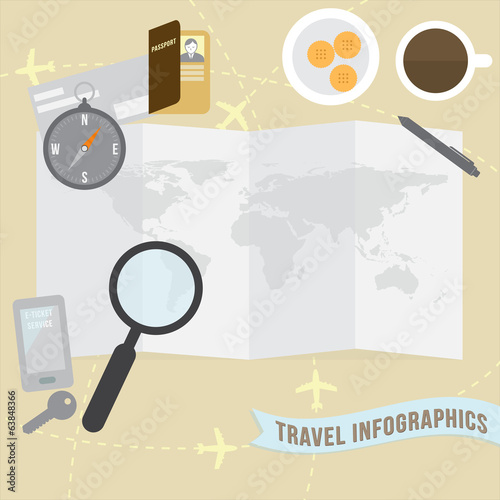 Travel infographics for web banner brochure design templete