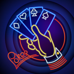 Poker Illustration: Hand with Playing Cards