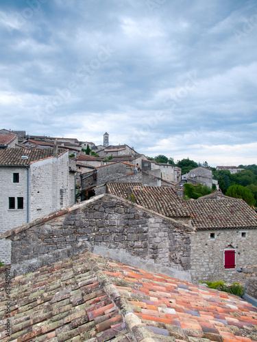 View over the rooftops of the ancient city of Balazuc in France