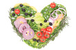 Heart shape made with various vegetables.