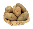 Russet potatoes in old basket