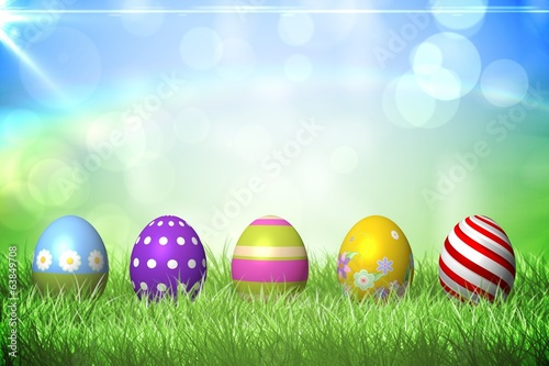 Colourful easter eggs on the grass