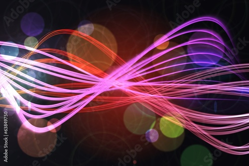 Curved laser light design in pink