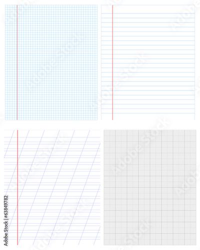 Vector set of paper objects for background or texture