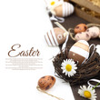 canvas print picture - Easter decoration with brown eggs