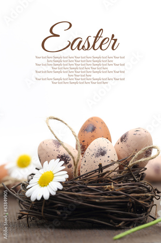 Easter decoration with brown eggs in the nest