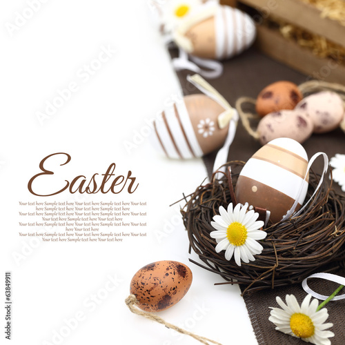 canvas print picture Easter decoration with brown eggs