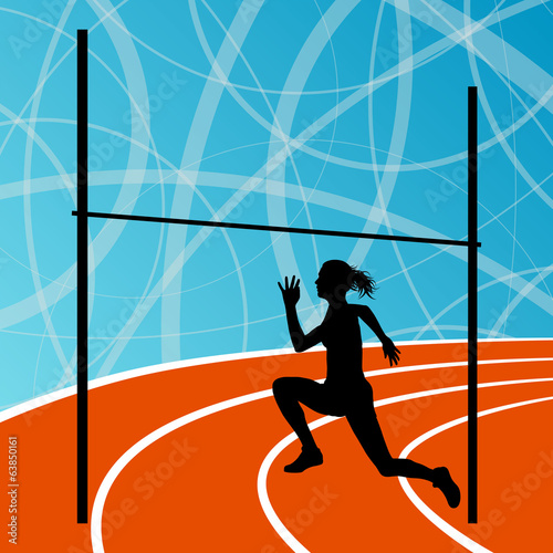 High jump athletics active woman girl sport silhouette concept i